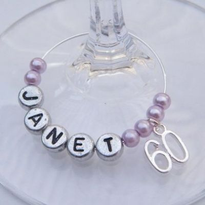 60th Birthday Personalised Wine Glass Charm